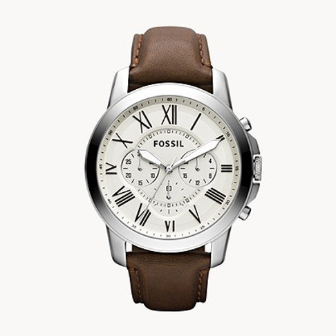 Fossil FS4735IE Grant Chronograph Brown Leather Watch