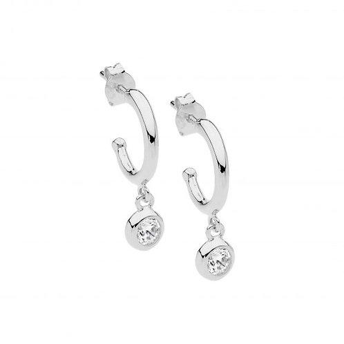 Ellani E537S Hoop Earring with Bezel CZ Drop Silver