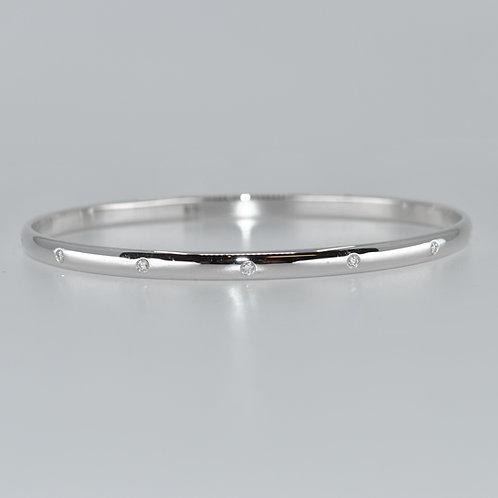 J014W 9ct White Gold Solid Diamond Bangle