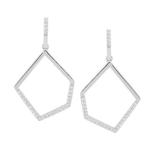 Ellani E529S Fancy CZ Drop Earrings Silver