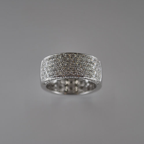 S1760 18ct White Gold Wide Flat Pave Diamond Ring