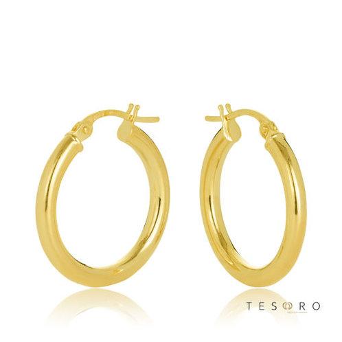 9ct Yellow Gold 'Celestine' 2.5mm Round Tube Hoop Earring 15mm Diameter