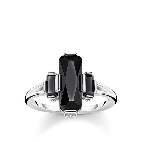 """Thomas Sabo TR2267-54 Sterling Silver """"Black Stone"""" Ring"""