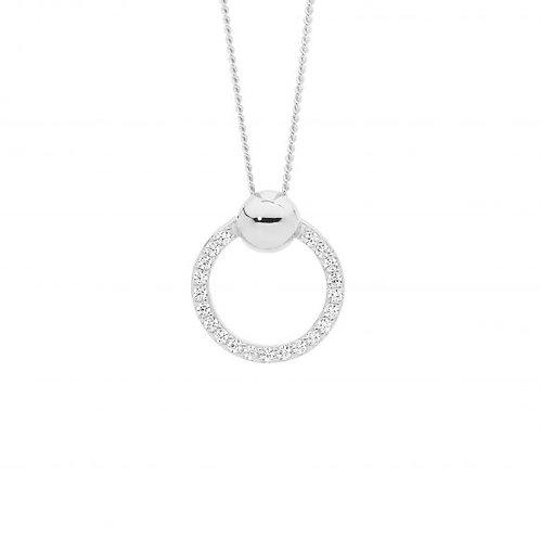 Ellani P850S Open Circle CZ set Pendant Silver
