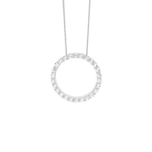 Ellani P816S Open Round Drop Pendant Silver