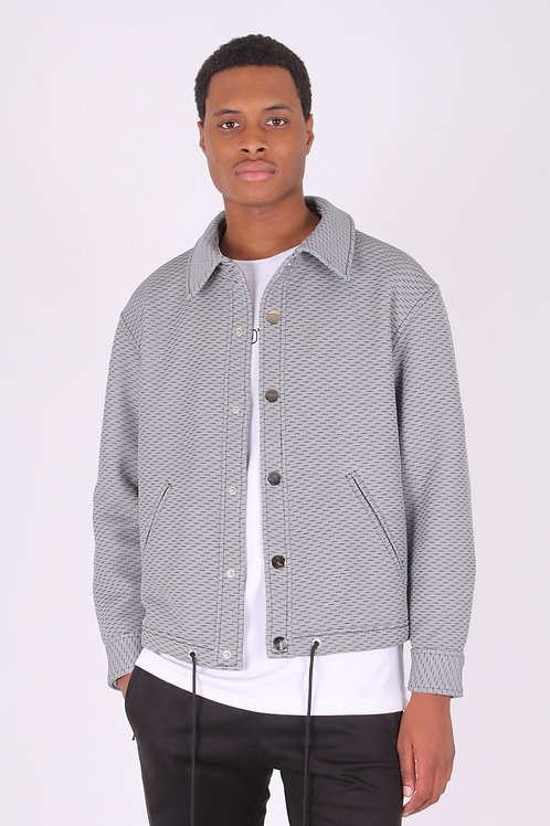 LIGHT GREY QUILTED KNIT COACH JACKET