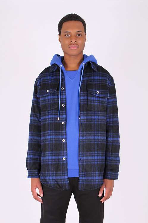 PLAID WOOL-BLEND FLANNEL (BL/BK)