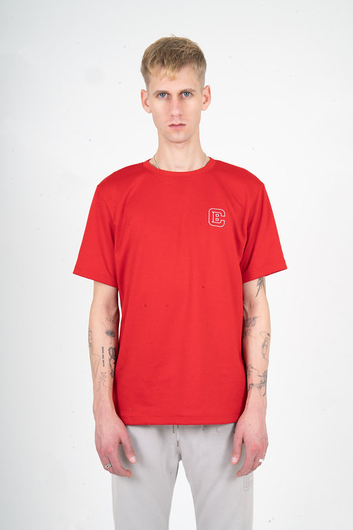 "RED ""EMBROIDERED LOGO"" T-SHIRT"