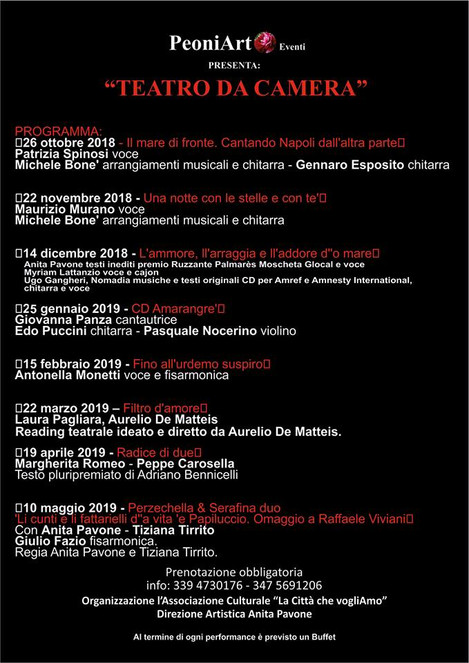 """14 dicembre: Ugo Gangheri partecipa alla mini rassegna d'arte """"Teatro Da Camera """""""