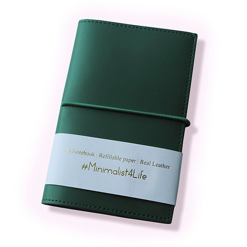 """Real Leather Notebook (Dark Green, 6"""" x 3.9"""" A6)"""