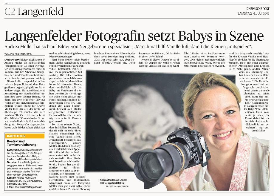 Andrea Müller Fotografin Langenfeld in der Rheinischen Post