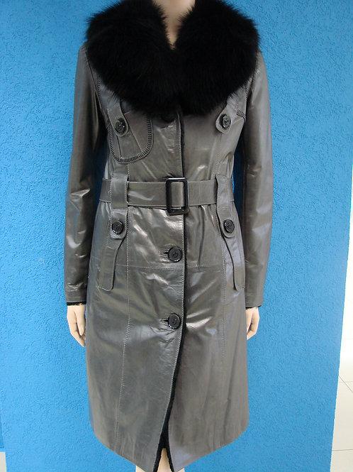 """Пальто женское кожаное на меху """"Mefi"""" В-6224"""