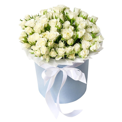 Букет в шляпной коробке из 19 кустовых роз