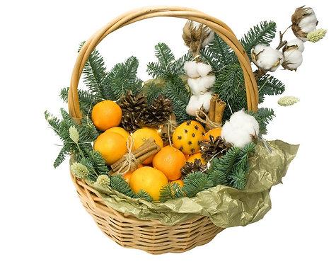 Рождественская корзина с мандаринами