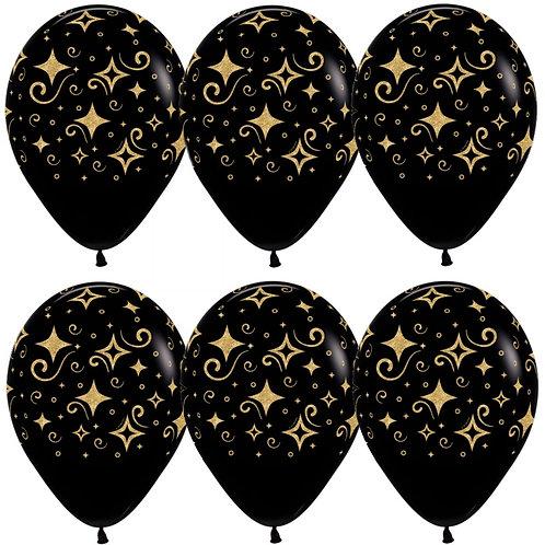 """Гелиевый шар """"Сверкающие бриллианты, черные"""" ди"""