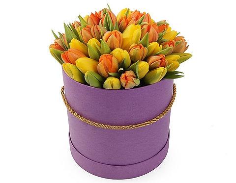 51 Тюльпан в шляпной коробке, желто-оранжевый