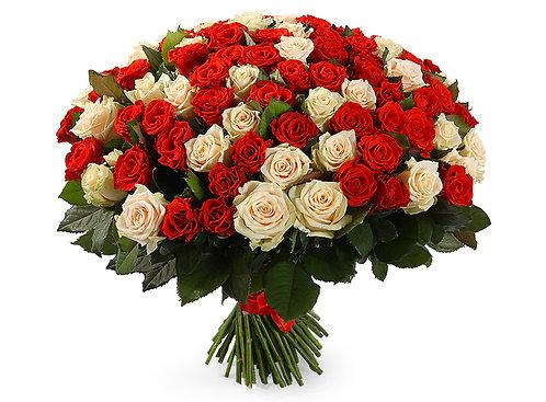 Букет из 101 розы, красно-белый микс