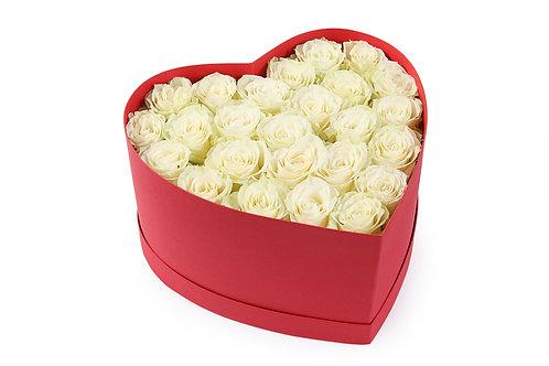 25 Роз в малой коробке-сердце