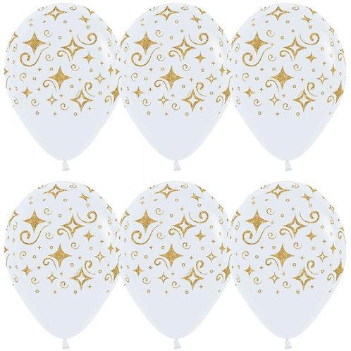 """Гелиевый шар """"Сверкающие бриллианты, белые"""" диаметром 30 см"""