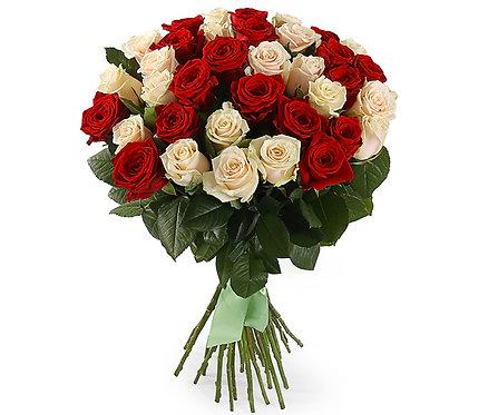 Букет из 35 роз, красно-белый микс