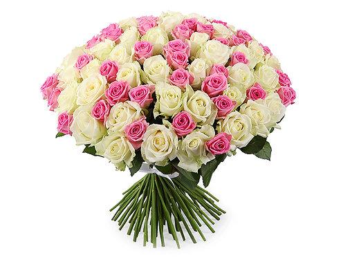 Букет из 101 розы, бело-розовый микс