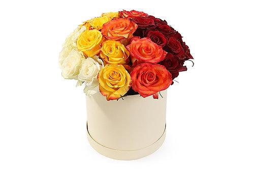 Букет в шляпной коробке из 31 розы с цветовым переходом