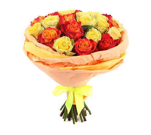 Букет из 25 роз, желто-оранжевый микс
