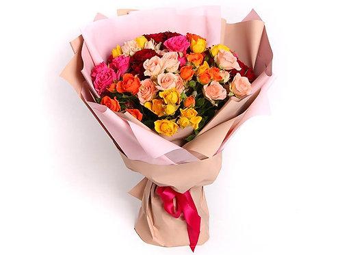 19 Кустовых роз-микс