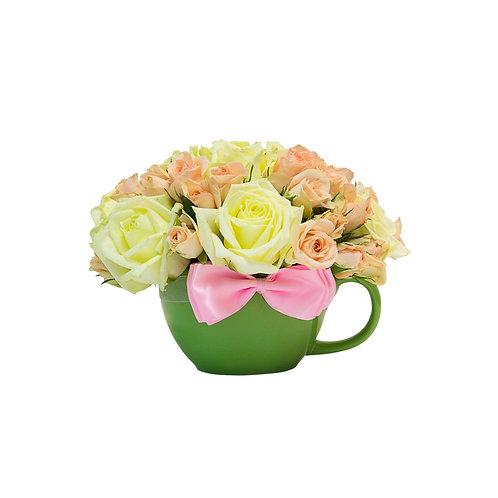 Букет в чашке Розы к чаю