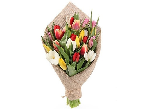 25 Тюльпанов-микс в мешковине