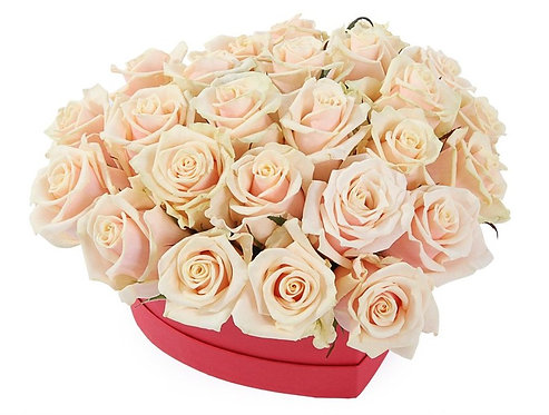 25 Кремовых роз в малой коробке-сердце