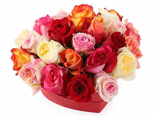 27 Роз-микс в коробке-сердце