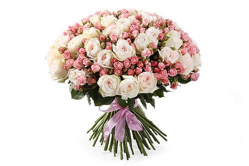51 Роза + 50 Кустовых роз