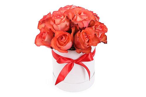 Букет в шляпной коробке из 11 роз