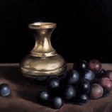 Brass vase and grapes, still life