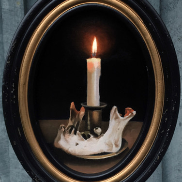 Human Jaw and Candle, Still life