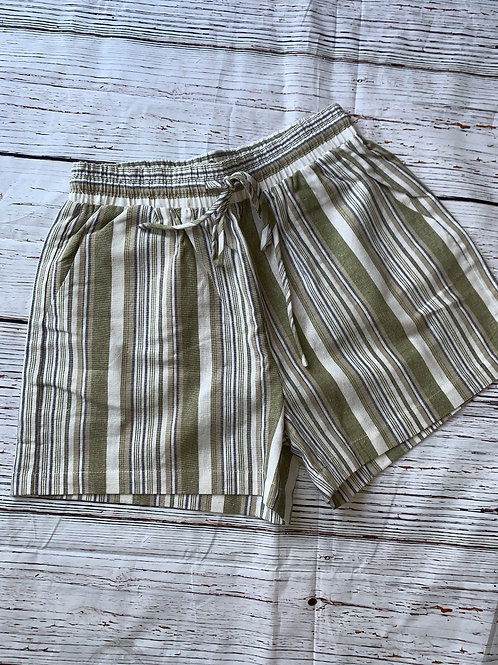 Olive Green and Sand Striped Shorts with Tie Waist