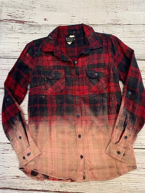 Custom Flannel Bleach-Out Long Sleeve