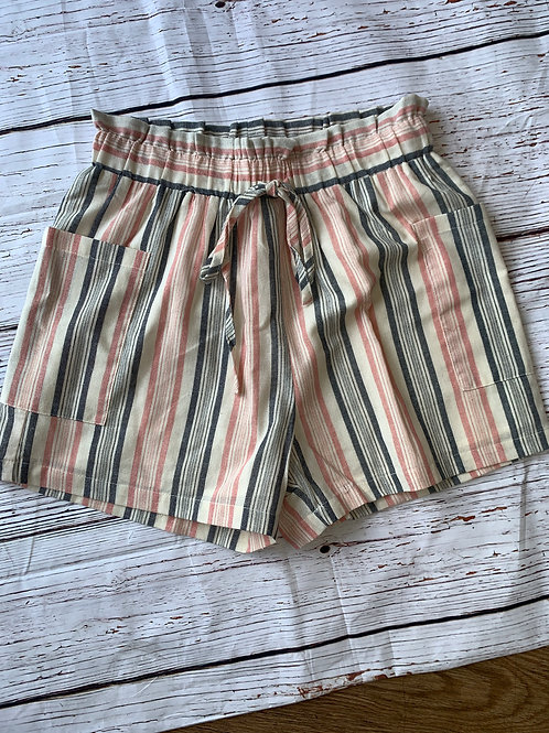Navy and Pink Stripe Shorts with Tie Waist