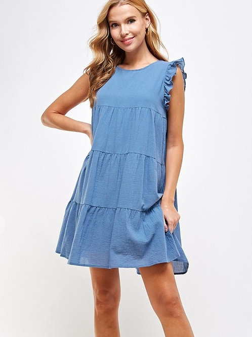 Slate Blue Tiered and Ruffled Dress 100% Cotton
