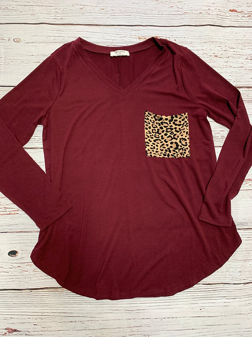Maroon Tee with Leopard Print Pocket Long Sleeve