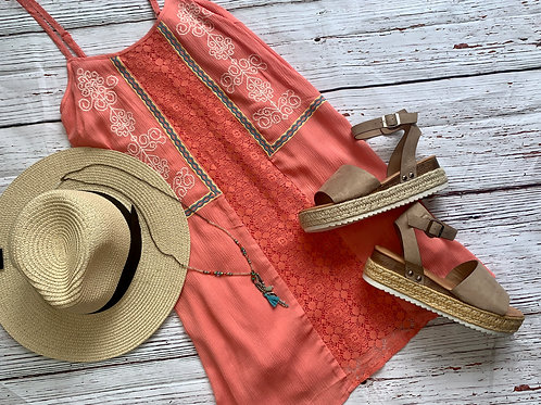 Coral Dress with Lace Adjustable Straps and beautiful Stitching