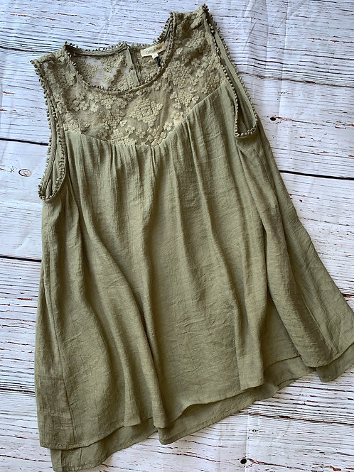 Olive Green or Navy Lace Shoulder Sleeveless Top