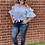 Thumbnail: Blue and White Stripped Cold Shoulder Top with Tie