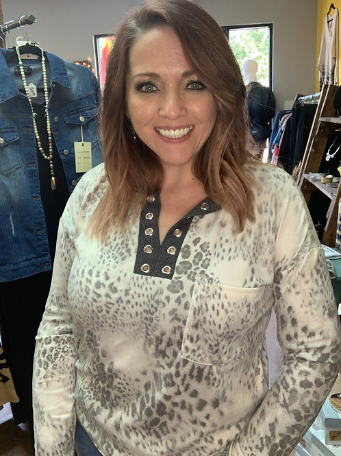 Leopard Top with Eyelet Neck Band Long Sleeve