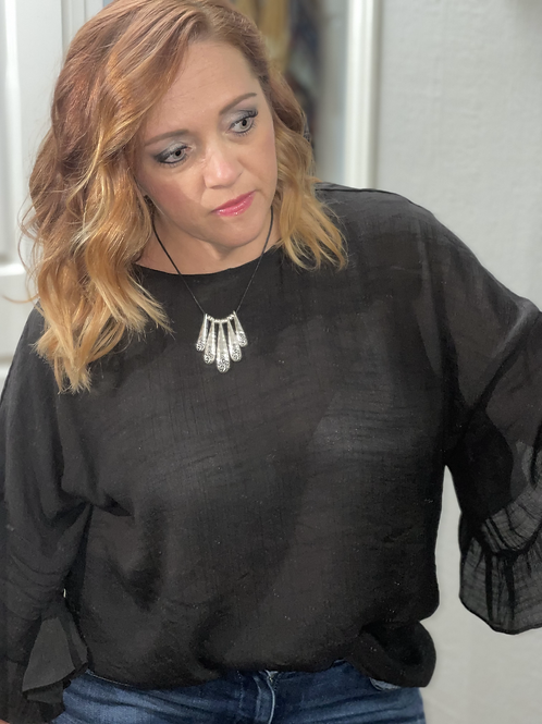 Plus Size Black Top with Ruffled Sleeves