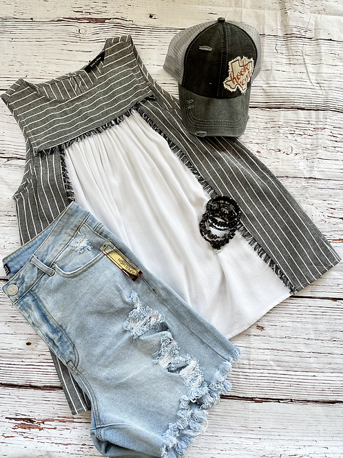 Stripped Frayed Sleeveless Top