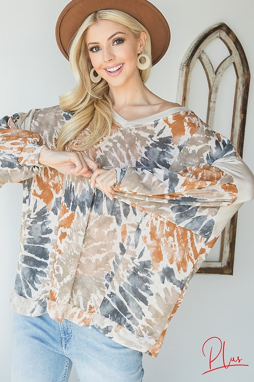 Plus SizeTie-dye top with Puffed Sleeves