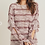 Thumbnail: Berry Striped Ruffled Sleeve Top Long Sleeve