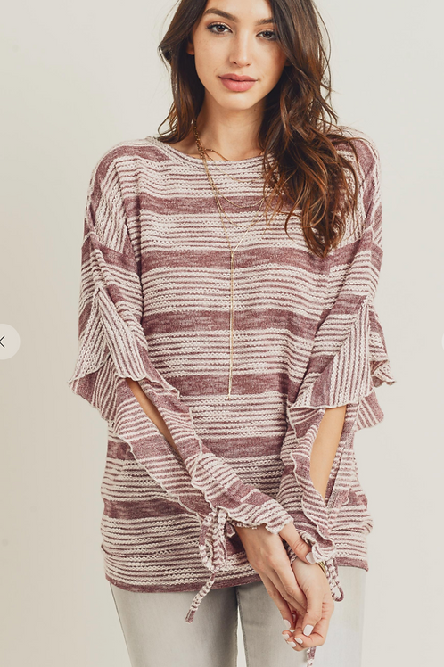 Berry Striped Ruffled Sleeve Top Long Sleeve
